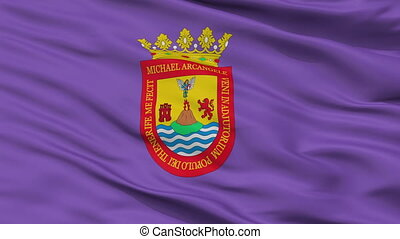 Closeup San Cristobal la Laguna city flag, Spain - San...