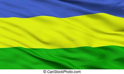 Closeup San Juan del Cesar city flag, Colombia - San Juan...