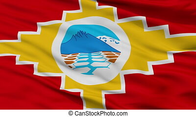 Santa Barbara closeup flag, city of Chile, realistic animation seamless loop - 10 seconds long