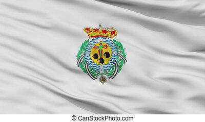 Closeup Santa Cruz city flag, Spain - Santa Cruz closeup...