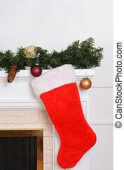 closeup santa sock on fireplace
