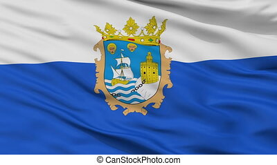 Closeup Santander city flag, Spain - Santander closeup flag,...