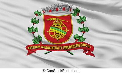 Closeup Santos city flag, Brasil - Santos closeup flag, city...