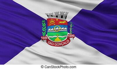 Closeup Sao Goncalo city flag, Brasil - Sao Goncalo closeup...