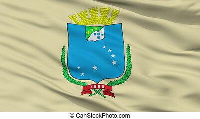 Closeup Sao Luis city flag, Brasil - Sao Luis closeup flag,...