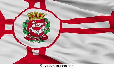 Closeup Sao Paulo city flag, Brasil - Sao Paulo closeup...