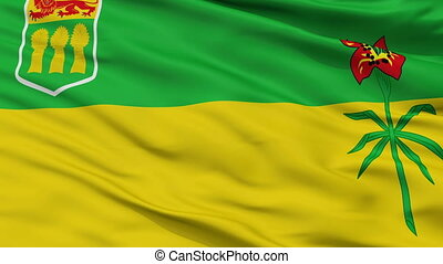 Closeup Saskatchewan city flag, Canada - Saskatchewan...