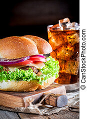closeup, schmackhaft, kaltes getränk, hamburger