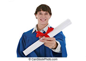 closeup, segurando, certificado, masculino jovem, isolado, homem, graduação