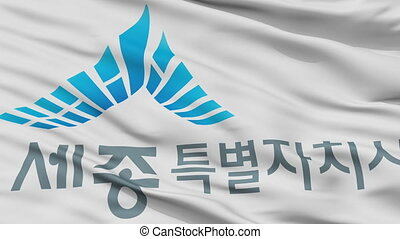 Closeup Sejong city flag, South Korea - Sejong closeup flag,...