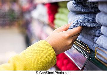 closeup, selectie, van, koopwaar, in, de, supermarkt