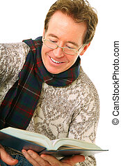 Closeup Senior Caucasian Man Enjoy Reading