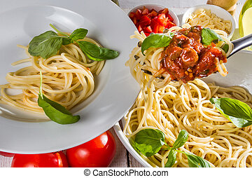 Closeup serving of spaghetti on a plate
