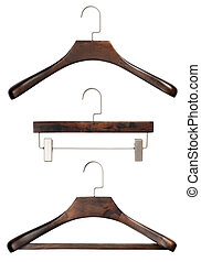 Closeup set of various luxury brown wooden clothing hangers isolated over white background