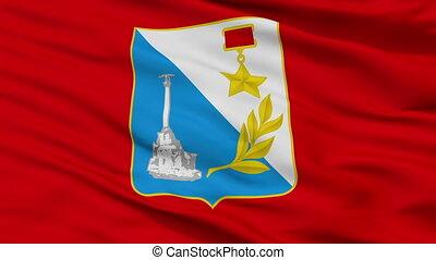 Closeup Sevastopol city flag, Ukraine - Sevastopol closeup...