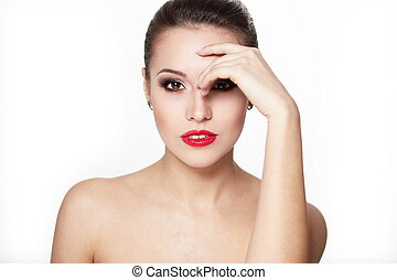 closeup, sexy, caucasien, pureté, flèche, charme, maquillage, modèle, portrait, complexion., lèvres, clair, skin., jeune, propre, rouges, femme, parfait, oeil