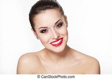 closeup, sexy, caucasien, pureté, flèche, charme, maquillage, modèle, portrait, complexion., lèvres, dents, clair, skin., jeune, propre, rouges, femme, parfait, sourire, oeil, blanc