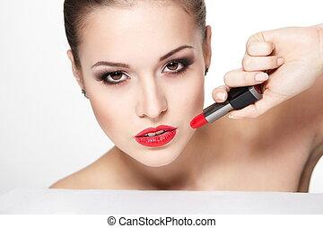 closeup, sexy, caucasien, pureté, flèche, charme, maquillage, modèle, portrait, lèvres, lipstick., peau, clair, jeune, propre, rouges, femme, teint parfait, oeil