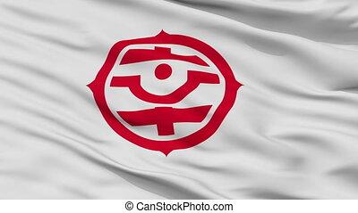 Closeup Shiki city flag, prefecture Saitama, Japan - Shiki...