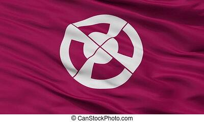 Closeup Shimabara city flag, prefecture Nagasaki, Japan -...