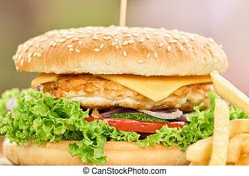 Closeup shot a tasty burger.