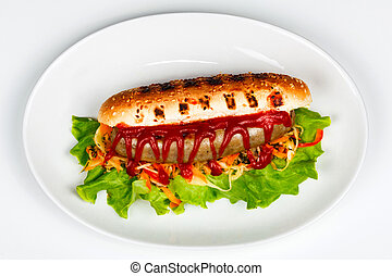Closeup shot of a hot dog on a plate