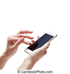 Closeup shot of a woman typing on mobile phone isolated on white background