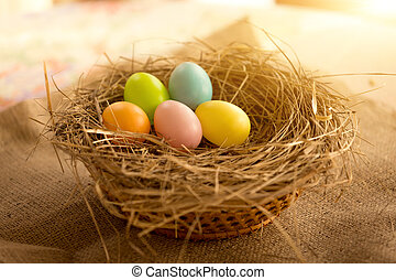 Closeup shot of colorful Easter eggs lying in nest at sunny ...