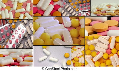 Closeup shot of different pills falling on table with tablets , pharmaceutical industry concept