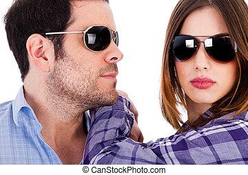 Closeup shot of fashion models wearing sunglasses
