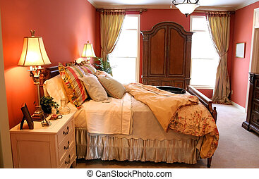 Luxury bedroom - closeup shot of Luxury bedroom is decorated...