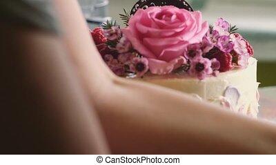 closeup shot of Making a birthday cake, 4k 2160p UHD