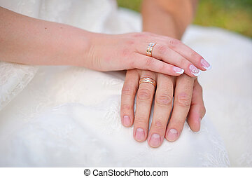 shot of newlyweds hands