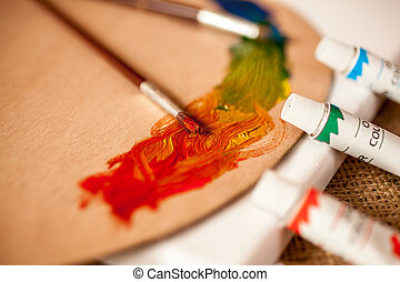 Closeup photo of professional artist tools on table