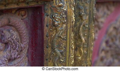 Closeup shot of the ancient doors in an inner part of the...
