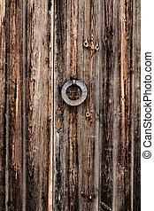 Closeup shot of very old wooden door