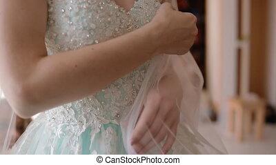 Closeup shot of wedding lace dress