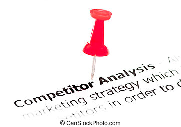 Closeup shot over words Competitor Analysis on paper