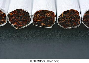 closeup, sigarette, nero, tavola