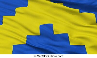 Closeup Sillamae city flag, Estonia - Sillamae closeup flag,...
