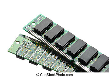 RAM - closeup SIMM 72-pin RAM isolated on white background