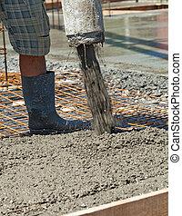 closeup, -, site, construction, verser, béton