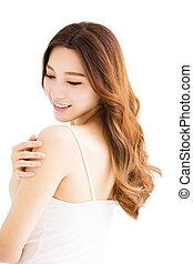 closeup, skincare, mulher bonita, conceito, jovem
