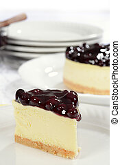 closeup slice blueberry cheesecake