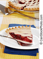 slice of strawberry pie with a fork