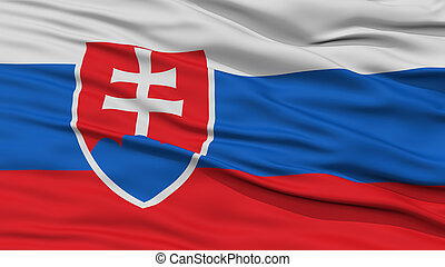 Closeup Slovakia Flag, Waving in the Wind, High Resolution