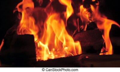 Closeup slow motion video of burning bonfire - Closeup slow ...