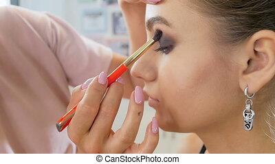 Closeup slow motion video of professional makeup artist...