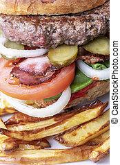 closeup, smaży, hamburger