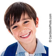 closeup, smile, i, en, cute, ung dreng
